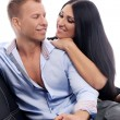 Sweet and sexy couple having a photo session in studio — Stock Photo #37485665