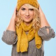 Beautiful blonde in hat and scarf — Stock Photo #37489817