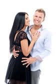 Sweet and sexy couple having a photo session in studio — Stock Photo