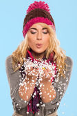 Beautiful blonde in hat and scarf — Stock Photo