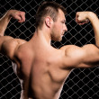 Powerful guy showing his muscles on fence background — Stock Photo #37622259