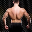 Powerful guy showing his muscles on fence background — Stock Photo #37622313