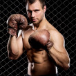 Guy with a boxing gloves showing muscles on fence background — Stock Photo #37622423