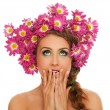 Beautiful woman with flowers in hair — Stok fotoğraf #38088347