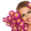 Foto Stock: Beautiful woman with flowers in hair