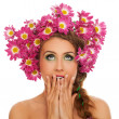 Beautiful woman with flowers in hair — Stock fotografie #38088347