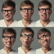 Big head guy makes crazy face emotions — Stock Photo #38131795