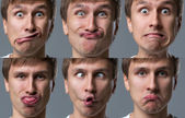 Big head guy makes crazy face emotions — Stock Photo