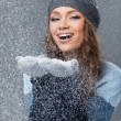 Cute girl with snowflakes having a good time — Stock Photo #38378875