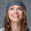 Cute girl with snowflakes having a good time — Stock Photo