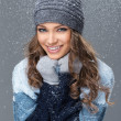 Cute girl with snowflakes having a good time — Stock Photo #38378909
