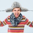 Handsome man with fur hat — Stock Photo