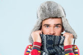 Handsome man feels cold — Stock Photo