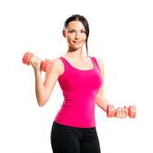 Cute brunette during fitness exercise — ストック写真