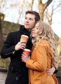 Beautiful couple on the street — Stockfoto