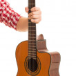 Man holding wooden guitar — Stock Photo