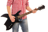 Musician holding electro guitar — Stock Photo