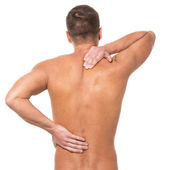 Man has pain in the back — Stock Photo