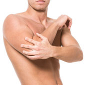 Man has pain in the elbow — Stock Photo