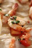 Haldy růžové, syrové krevety — Stock fotografie
