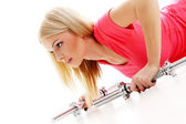 Beautiful girl during workout — Foto Stock