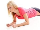 Krásná dívka během cvičení — Stock fotografie