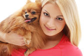 Cute girl with a dog — Stock Photo