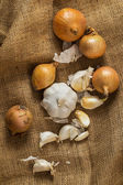 Onions and garlic on blanket — Stock Photo