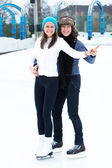 Couple on the ice rink — Foto Stock