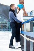 Couple on the ice rink — ストック写真