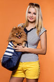 Attractive woman with spitz dog — Stock Photo