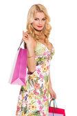 Vogue woman with shopping bags — Foto de Stock