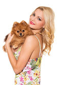 Attractive girl with dog — Stock Photo
