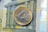 Money, finances. Euro coin — Stock Photo
