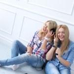 Best friends listen music — Stock Photo #44589943
