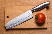 Knife with tomato — Foto de Stock