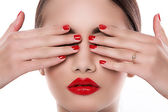 Gorgeous girl with red lipstick — Stock Photo
