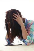 Woman with painful headache — Stock Photo
