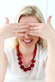 Blonde woman with closed eyes — Stock Photo