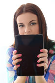 Attractive woman with tablet — Stock Photo