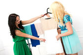 Lovely friends during shopping — Stock Photo