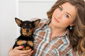 Attractive woman with dog — Stock Photo