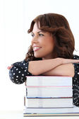 Attractive woman with books — Stock Photo