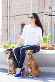Attractive girl with beautiful dogs — Stock Photo