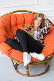 Girl with fluffy dog — Stock Photo