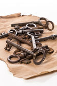 Old, rustic keys — Stock Photo