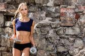 Garota sexy durante treino — Fotografia Stock
