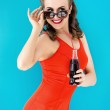 Pin up woman in red swimsuit — Stock Photo #48961855
