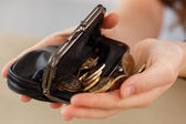 Woman with wallet — Stock Photo