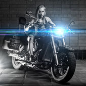 Sexy girl on the bike — Stockfoto